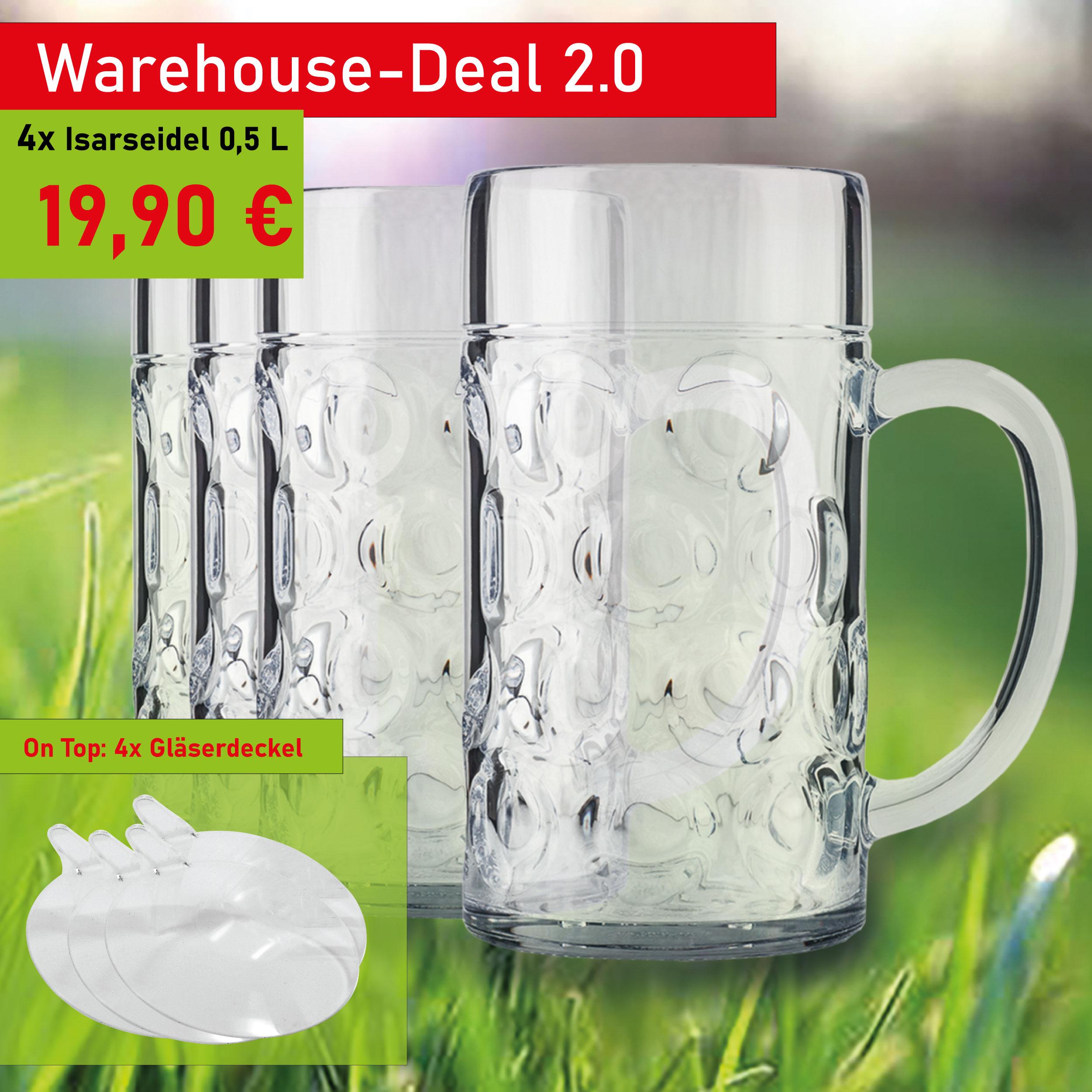 Bierkrug Kunststoff 0,5 L inkl. Deckel - Aktionsset